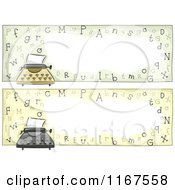 Cartoon Of Typewriter Website Headers With Copyspace Royalty Free Vector Clipart