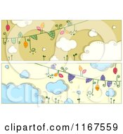 Cartoon Of Vine And Cloud Website Banners Royalty Free Vector Clipart by BNP Design Studio