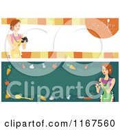 Cartoon Of Cooking Blog Banners With Women And Copyspace Royalty Free Vector Clipart by BNP Design Studio