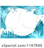 Cartoon Of A Background Of Blue Water Waves Forming A Tunnel With White Copyspace Royalty Free Vector Clipart by BNP Design Studio