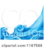 Cartoon Of A Background Of Blue Water And Splashing Waves 4 Royalty Free Vector Clipart by BNP Design Studio