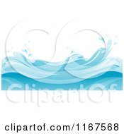Cartoon Of A Background Of Blue Water And Splashing Waves Royalty Free Vector Clipart