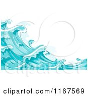 Cartoon Of A Background Of Blue Water And Splashing Waves 2 Royalty Free Vector Clipart by BNP Design Studio