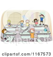Cartoon Of Diverse School Children In A Messy Classroom Royalty Free Vector Clipart