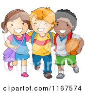 Cartoon Of A Group Of Happy Diverse School Children Royalty Free Vector Clipart