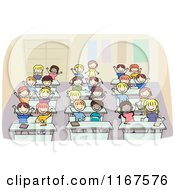 Cartoon Of Diverse School Children Waving From Their Desks Royalty Free Vector Clipart