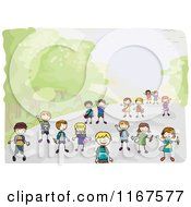 Cartoon Of Diverse School Children Walking To School Royalty Free Vector Clipart