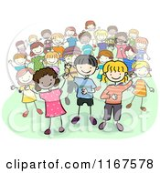 Cartoon Of A Group Of Diverse Children Royalty Free Vector Clipart
