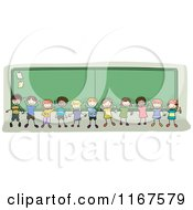 Cartoon Of Diverse School Children Standing By A Chalk Board Royalty Free Vector Clipart