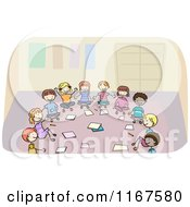 Cartoon Of Diverse School Children Sitting In A Circle And Discussing A Project Royalty Free Vector Clipart