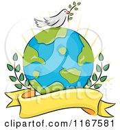 Cartoon Of A Peace Dove On Earth With Branches And A Banner Royalty Free Vector Clipart
