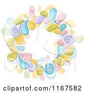 Cartoon Of A Circle Frame Of Colorful Splashes Royalty Free Vector Clipart by BNP Design Studio