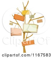 Cartoon Of A Bare Tree With Signs Hanging From The Branches Royalty Free Vector Clipart