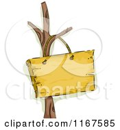 Cartoon Of A Bare Tree With A Wooden Sign Royalty Free Vector Clipart