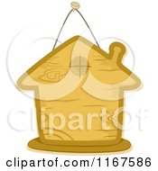Cartoon Of A Wooden Sign In The Shape Of A House Royalty Free Vector Clipart