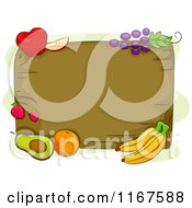 Cartoon Of A Wood Board And Fruit With Copyspace Royalty Free Vector Clipart