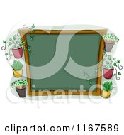 Cartoon Of A Chalkboard Sign With Plants And Copyspace Royalty Free Vector Clipart