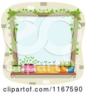Cartoon Of A Window With Potted Plants And Vines With Copyspace Royalty Free Vector Clipart