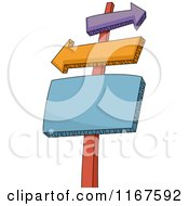 Cartoon Of A Sign Post With Arrow And Rectangle Signs Royalty Free Vector Clipart