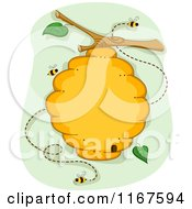 Cartoon Of A Bee Hive Over Green Royalty Free Vector Clipart by BNP Design Studio