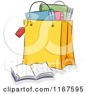 Cartoon Of A Shopping Bag Full Of Books Royalty Free Vector Clipart