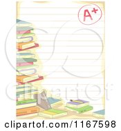 Cartoon Of A Stack Of School Books Over Ruled Paper With An A Plus Grade Royalty Free Vector Clipart
