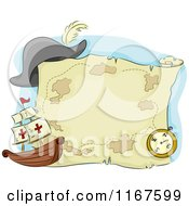 Cartoon Of A Pirate Ship Compass Hat And Treasure Map Royalty Free Vector Clipart