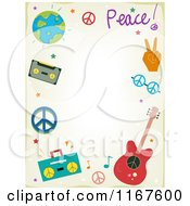 Cartoon Of A Music And Peace Background With Copyspace Royalty Free Vector Clipart by BNP Design Studio