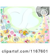 Cartoon Of A Photography Background With Snapshots A Camera And Copyspace Royalty Free Vector Clipart