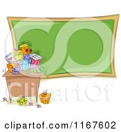 Cartoon Of A Desk With Gifts And A Chalkboard On Teachers Day Royalty Free Vector Clipart by BNP Design Studio