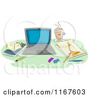 Cartoon Of A Laptop Fashion Sketch Coffee And Books On A Desk Royalty Free Vector Clipart