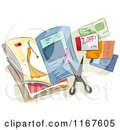 Cartoon Of A Magazine With Clipped Coupons And Scissors Royalty Free Vector Clipart