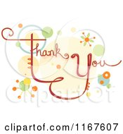 Cartoon Of Thank You Text With Retro Circles Royalty Free Vector Clipart