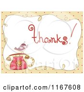 Cartoon Of Thank You Text With A Bird On A Telephone Royalty Free Vector Clipart