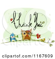 Cartoon Of Thank You Text With An Owl Bird Worm And Flowers Royalty Free Vector Clipart