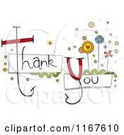 Cartoon Of Thank You Text With Whimsical Flowers Royalty Free Vector Clipart
