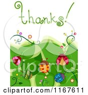 Cartoon Of Thanks Text With Leaves And Ladybugs Royalty Free Vector Clipart