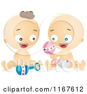 Cartoon Of Caucasian Babies Playing With Rattles Royalty Free Vector Clipart