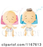 Cartoon Of Caucasian Babies Sleeping Royalty Free Vector Clipart