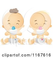 Cartoon Of Babies Drinking Milk From A Bottle Royalty Free Vector Clipart