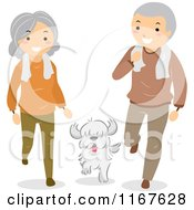 Cartoon Of A Fit Senior Couple With Their Dog Royalty Free Vector Clipart