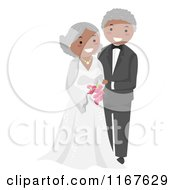 Cartoon Of A Happy Black Senior Wedding Couple Royalty Free Vector Clipart