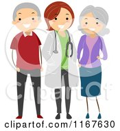 Cartoon Of A Senior Couple And Their Doctor Royalty Free Vector Clipart
