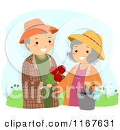 Cartoon Of A Happy Senior Couple With The Man Giving His Wife Roses In The Garden Royalty Free Vector Clipart