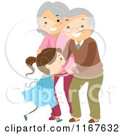 Cartoon Of A Happy Senior Couple Embracing Their Grand Daughter Royalty Free Vector Clipart by BNP Design Studio