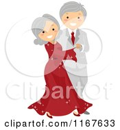Cartoon Of A Happy Senior Couple Ballroom Dancing Royalty Free Vector Clipart