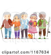 Cartoon Of A Group Of Diverse Senior Adults Royalty Free Vector Clipart by BNP Design Studio