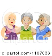 Cartoon Of A Group Of Senior Female Friends Royalty Free Vector Clipart