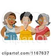 Cartoon Of A Group Of Diverse Middle Aged Female Friends 2 Royalty Free Vector Clipart