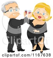 Cartoon Of A Formal Senior Couple Toasting At A Party Royalty Free Vector Clipart